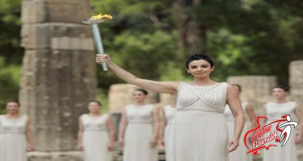 بالصور..إيقاد شعلة الدورة الأوليمبية على جبال الأوليمب