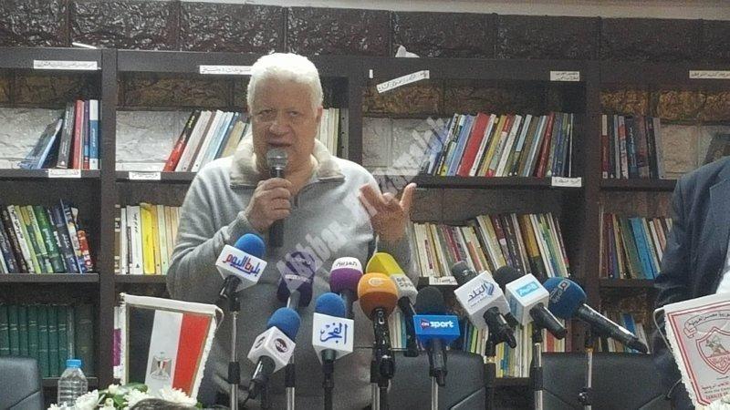 مؤتمر مرتضى منصور قبل عمومية الانسحاب [تصوير: سارة عبد الباقي]